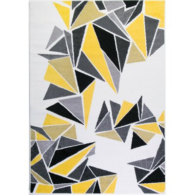 Crigler Triangles Yellow/Gray Area Rug Rug Size: Rectangle 53 x 76