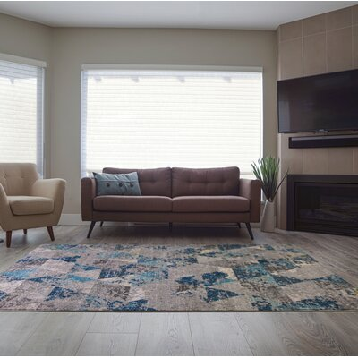 Crossett Triangles Teal/Gray Area Rug Rug Size: Runner 27 x 910