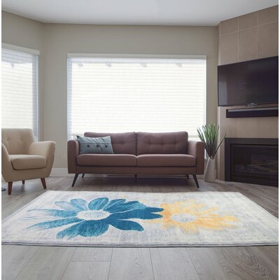 Criddle Flower Teal/Yellow Area Rug Rug Size: Rectangle 311 x 57