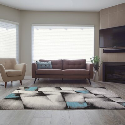 Crosland Black/Teal Area Rug Rug Size: Rectangle 53 x 76
