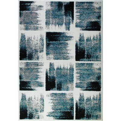 Pangkal Pinang Teal/Black Area Rug Rug Size: Rectangle 53 x 76