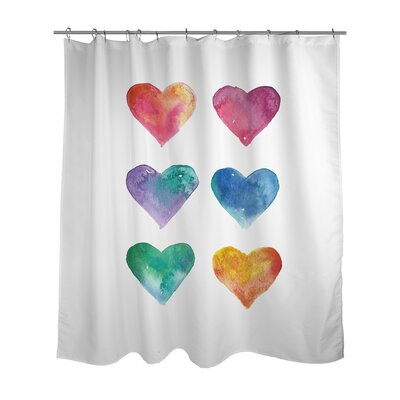 Hearts Watercolor Shower Curtain
