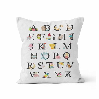 Alphabet Throw Pillow Size: 16 H x 16 W x 3 D