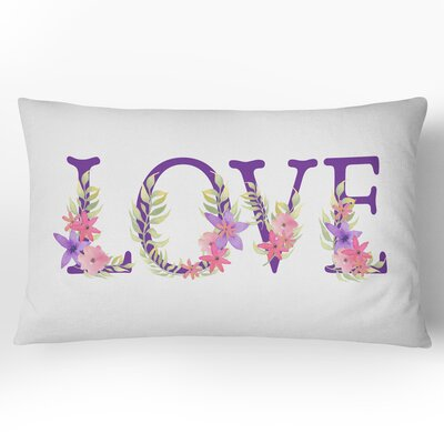 Love Watercolor Lumbar Pillow
