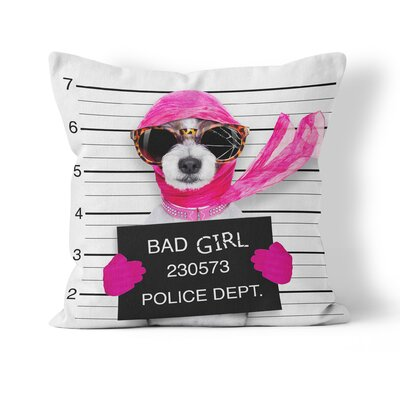 Bad Girl Funny Throw Pillow Size: 18 H x 18 W x 3 D