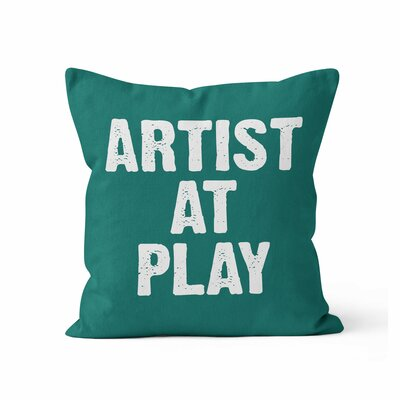 Artist at Play Throw Pillow Color: Green, Size: 18 H x 18 W