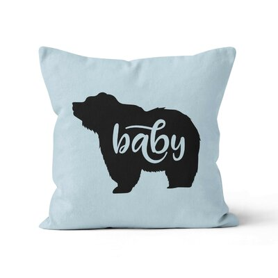 Baby Bear Nursery Throw Pillow Size: 18 H x 18 W , Color: Blue/Black