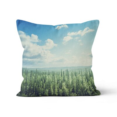 Forest Landscape Throw Pillow Size: 18