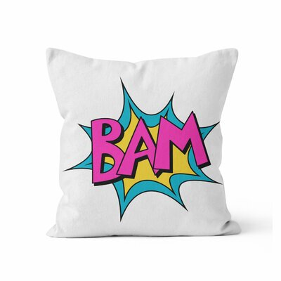 Comic Book Bam Throw Pillow Size: 16 H x 16 W x 3 D