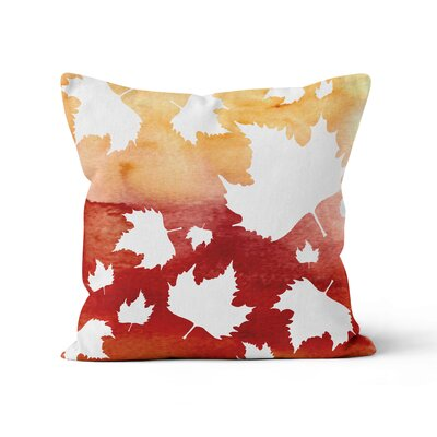 Autumn Leaves Watercolor Throw Pillow Size: 20 H x 20 W x 3 D