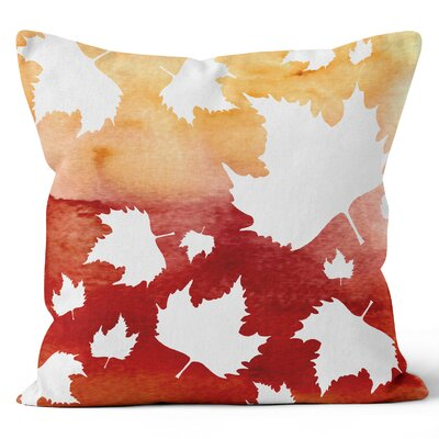 Autumn Leaves Watercolor Throw Pillow Size: 18 H x 18 W x 3 D