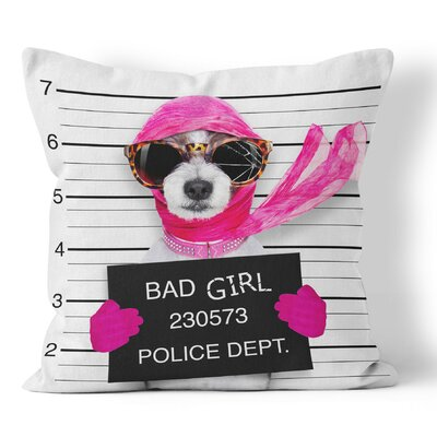 Bad Girl Funny Throw Pillow Size: 16 H x 16 W x 3 D