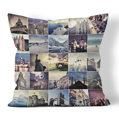 World Travel Throw Pillow Size: 16 H x 16 W x 3 D