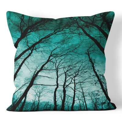 Teal Forest Throw Pillow Size: 16 H x 16 W x 3 D