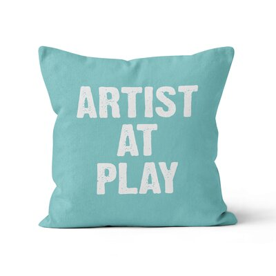 Artist at Play Throw Pillow Size: 16 H x 16 W, Color: Aqua