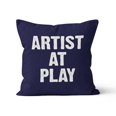 Artist at Play Throw Pillow Size: 16 H x 16 W, Color: Dark Blue