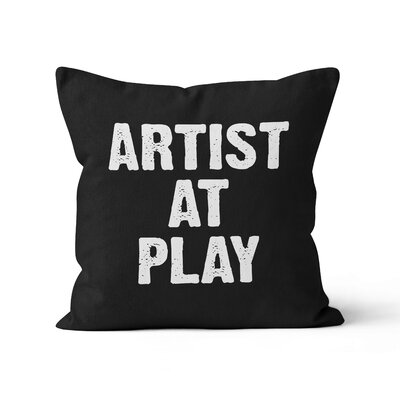 Artist at Play Throw Pillow Size: 16 H x 16 W, Color: Black