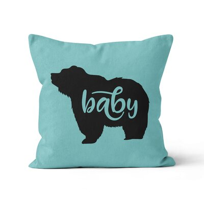 Baby Bear Nursery Throw Pillow Color: Aqua, Size: 16 H x 16 W
