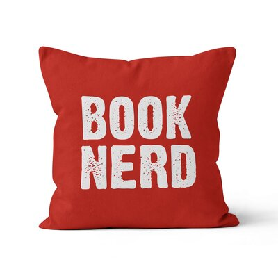 Book Nerd Throw Pillow Color: Red, Size: 16 H x 16 W