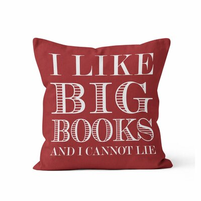 Ewalt I like Big Books Throw Pillow Color: Red