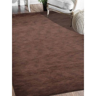 Riggio Hand-Knotted Wool Brown Area Rug Rug Size: Rectangle 5 x 8