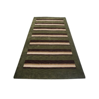 Komarek Hand-Woven Green/Brown Area Rug Rug Size: Runner�28 x 10