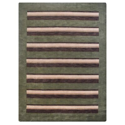 Hand-Woven Green/Brown Area Rug Rug Size: 9 x 12