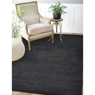 Riggio Hand-Knotted Wool Charcoal Area Rug Rug Size: Rectangle 5 x 8