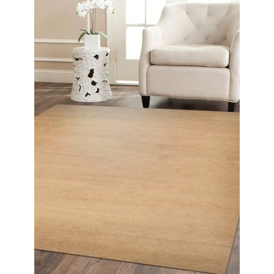 Ceniceros Solid Hand-Knotted Wool Beige Area Rug