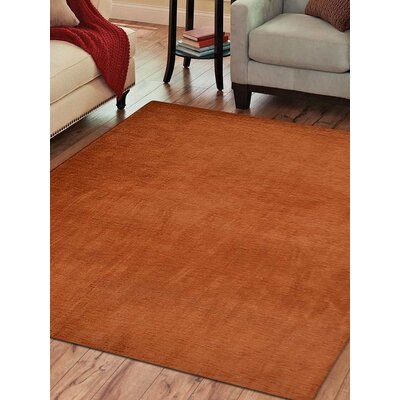 Ceniceros Solid Hand-Knotted Wool Orange Area Rug Rug Size: Square 10