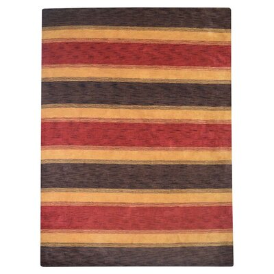 Hand-Woven Brown/Gold Area Rug Rug Size: 9 x 12