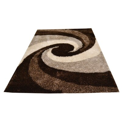 Hand-Tufted Chocolate/Cream Area Rug Rug Size: 5 x 8