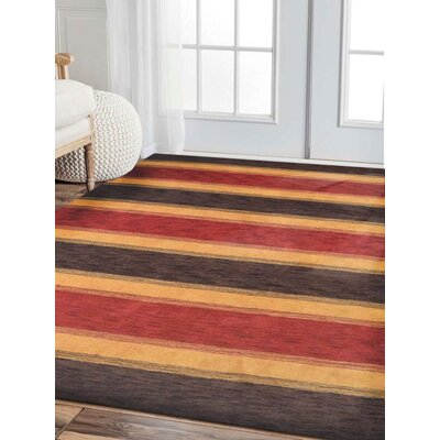 Ceniceros Striped Hand-Knotted Wool Brown/Gold Area Rug