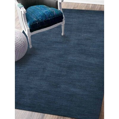 Rugsotic Solid Hand-Knotted Wool Blue Area Rug Rug Size: 10 x 13