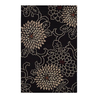 Hand-Tufted Black Area Rug Rug Size: Round 8