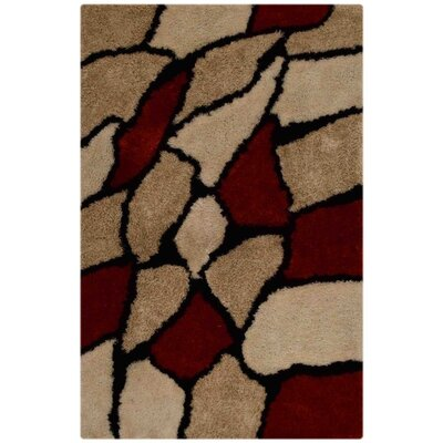 Hand-Tufted Beige/Red Area Rug