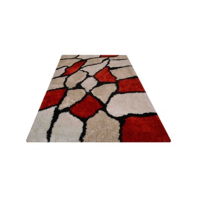 Fressia Contemporary Hand Tufted Red/Beige Area Rug