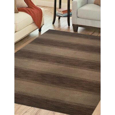Rugsotic Striped Hand-Knotted Wool Brown/Beige Area Rug