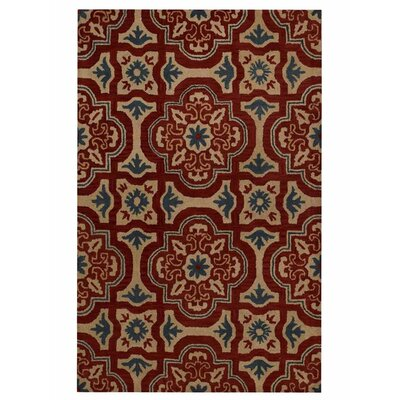 Hand-Tufted Red/Beige Area Rug Rug Size: Round 8