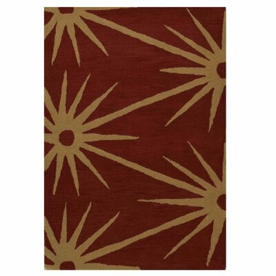 Hand-Tufted Red/Gold Area Rug Rug Size: 4 x 6