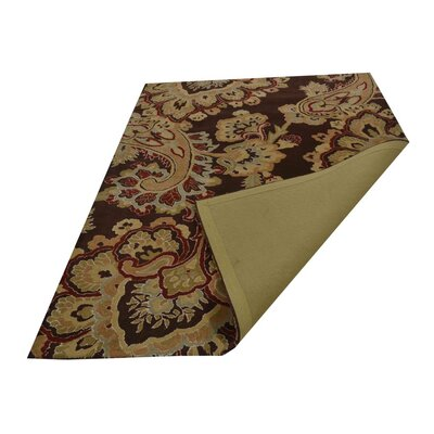 Kinzer Floral Hand-Woven Wool Brown Area Rug Rug Size: Rectangle�3 x 5