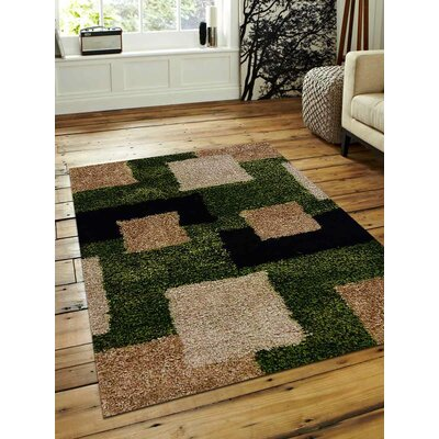 Mayer Geometric Hand-Woven Green/Beige Area Rug Rug Size: Rectangle�5 x 8