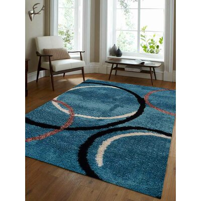 Halley Abstract Hand Tufted Firoza Area Rug Rug Size: 6' x 9'