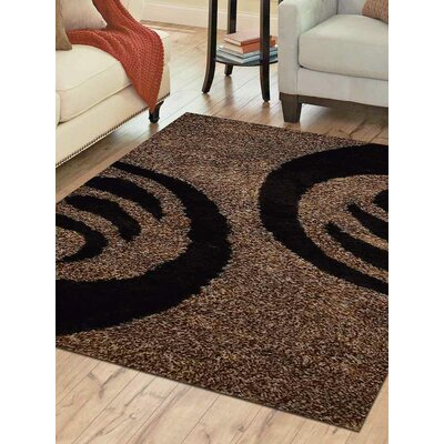 Bivens Shag Hand-Woven Beige/Black Area Rug Rug Size: Rectangle�5 x 8