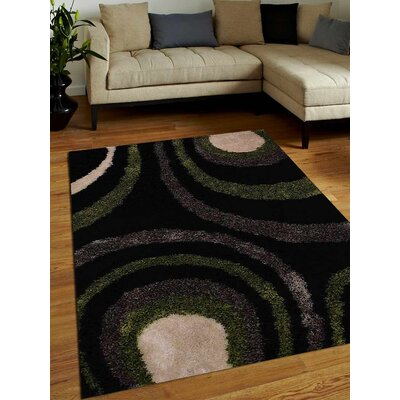 Anderton Shag Hand-Woven Black/Green/Gray Area Rug Rug Size: Rectangle�4 x 6