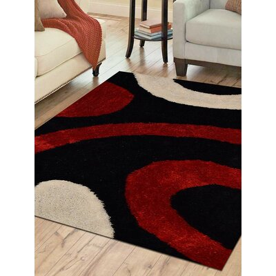 Hand-Tufted Black/Red Area Rug Rug Size: 4 x 6