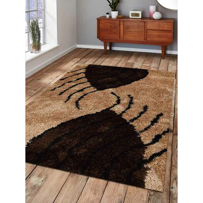 Hand-Tufted Beige/Brown Area Rug Rug Size: 4 x 6