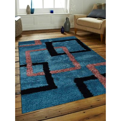 Halley Abstract Hand Tufted Firoza Area Rug Rug Size: 6 x 9