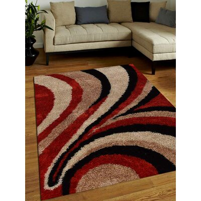 Hand-Tufted Red/Gray Area Rug Rug Size: 4 x 6