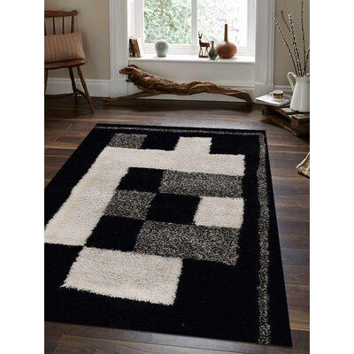 Ry Hand Tufted Black/White Indoor/Outdoor Area Rug Rug Size: 8 x 10